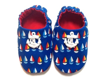 Nautical Baby Boy Shoes with Sailboats and Anchors, 0-6 mos. Baby Booties, Soft Sole Shoes, Crib Shoes, Sail Boats and Anchors, Baby Gift