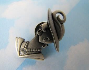 Vintage 1980's Pewter Lady Pin Jewellery Jewelry Summer Hat Hallmarked JJ