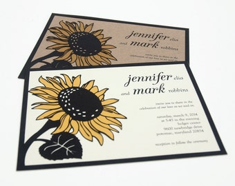 NEW! Papercut Wedding Invitations - Sunflower - Eco-conscious - SAMPLE