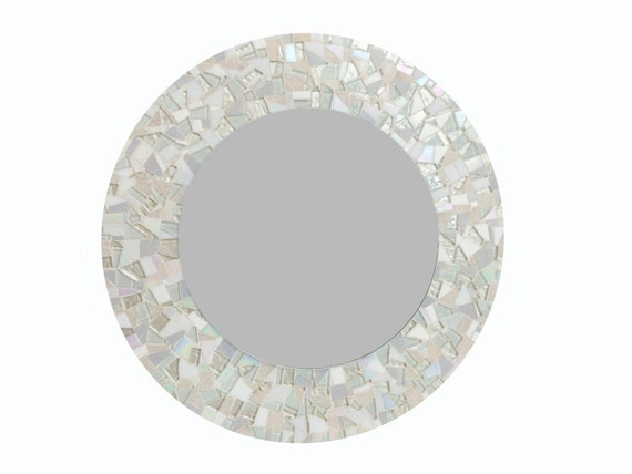 All White Round Mosaic Wall Mirror By GreenStreetMosaics