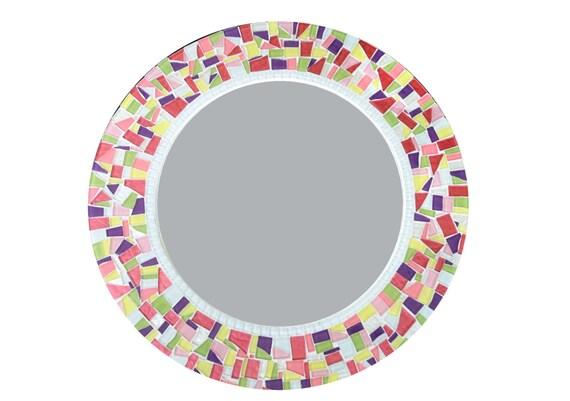 Color rond d coration murale miroir miroir mosa que les for Miroir rond mosaique