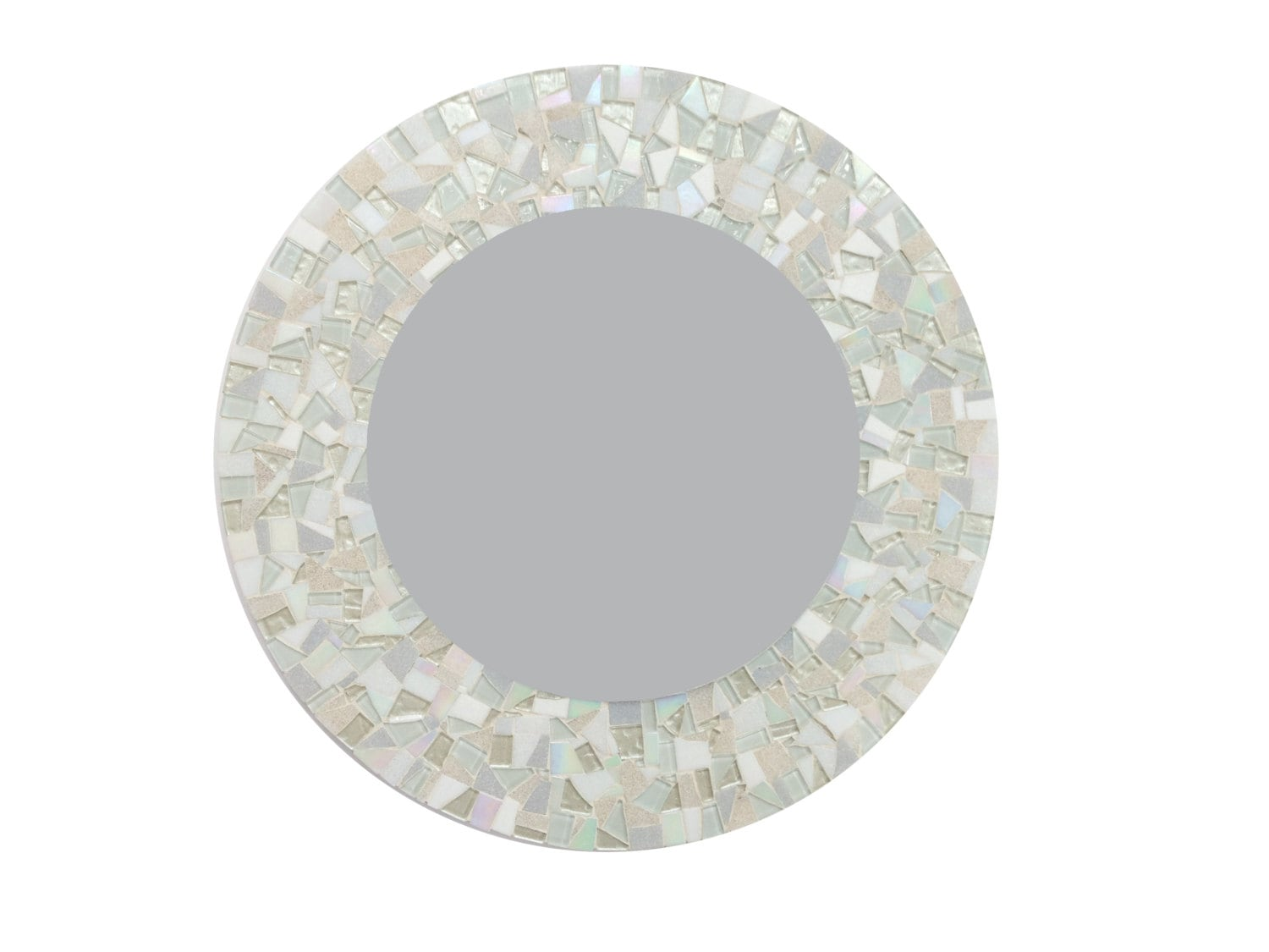 Large round mirror in all white glass mosaic by for Large white round mirror