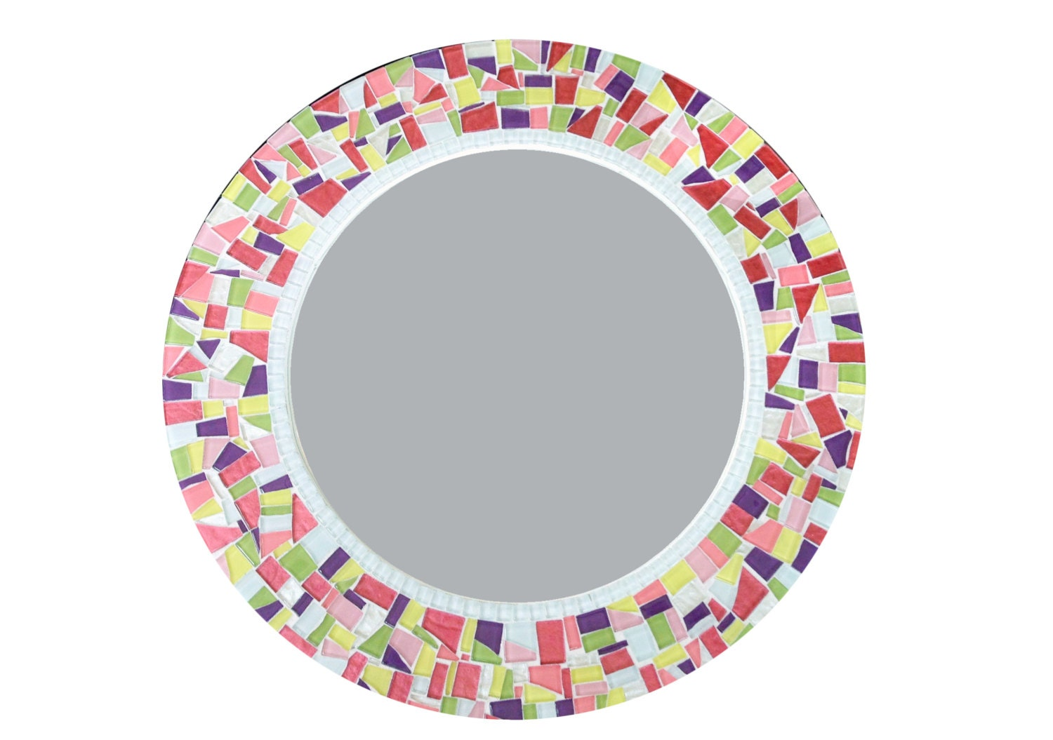 Round Mosaic Wall Mirror Colorful Home Decor Mirror For