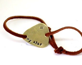 Hand Stamped Brass Guitar Pick Bracelet - Leather - My Star - Personalized