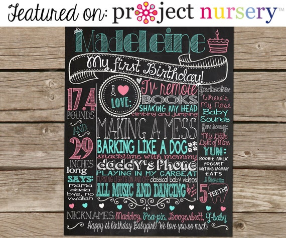 Items Similar To 1st Birthday Chalkboard Poster Sign For