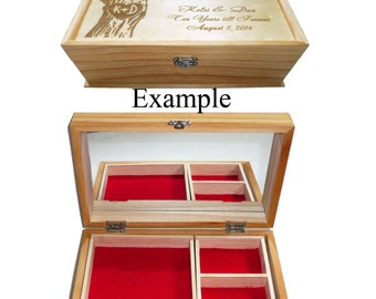 Custom Design Jewelry boxes with Mirror & Compartments / Wood Burned