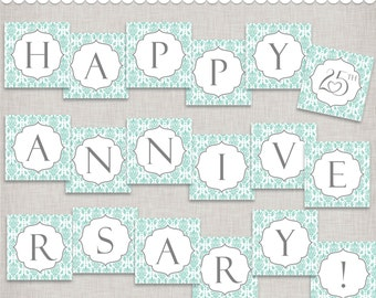 Instant Download 25th Anniversary Banner - printable PDF
