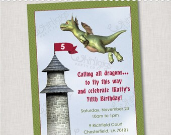 Dragon Invitation - Dragon or Knight Birthdy Party Invite - Printable Digital File or Printed Invitations with Envelopes - FREE SHIPPING