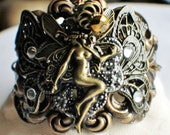 Fairy Cuff Bracelet, Victorian Cuff Bracelet in Bronze with Fairy and Butterfly