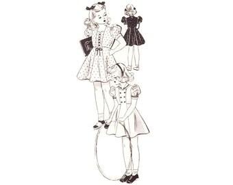 1940s Children's Pattern, Mail Order 1894, Little Girl's Sailor Dress or Sweetheart Neckline, Vintage Sewing Pattern, Size 4 Uncut Rare