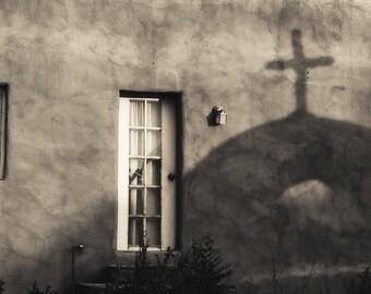 New Mexico photograph, Chimayo photo, Shadows, Spiritual Photo, Black and white, Santuario de Chimayo