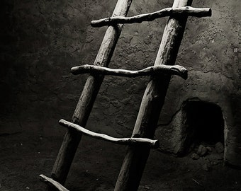 black and white photograph, native american, kiva ladder, american southwest, travel photo, bandelier, new mexico