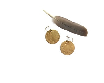 harvest moon brass earrings // hand stamped jewelry