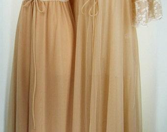 Vintage 50s Romantic Dark Beige stunning cream lace Peignor nightgown robe set INTIME sz S