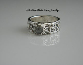 Eco-Friendly, Recycled Silver, Conflict Free, Uncut Rough, Raw Black Genuine Diamond, Engagement Ring, Fashion Ring