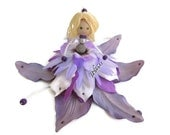 Fairy Ornament, Handmade Doll, Flower Fairy Doll, Orchid Purple Ornament, Girl Room Decor, Girl Birthday, Easter, Gift under 35 - amezarcreations