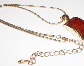 Vintage pendant necklace with amber color pendant on gold snake chain 1970s jewelry FREE USA SHIPPING