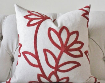 Red Pillow - Red Ivory Modern Floral Pillow Cover - Throw Pillow - Designer Decorative Pillow - Geometric Flower