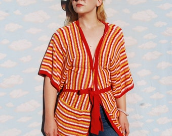 Knit Kimono Cardigan 70s Looking Half Sleeves Throw Coat