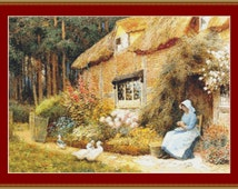 Woman Outside Cottage With Ducks Cross Stitch Pattern