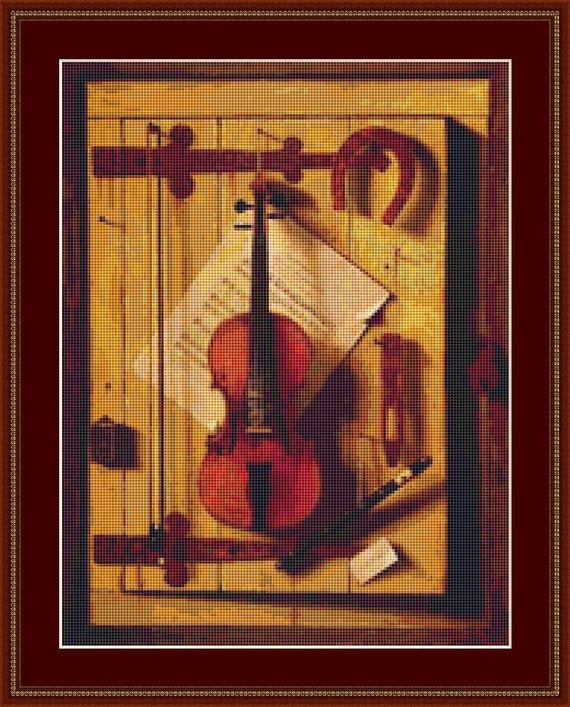 Violin And Music Cross Stitch Pattern /Digital PDF Files /Instant downloadable