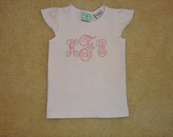 Girls Embroidered Personalized Monogrammed Pink on White Flutter Sleeve Shirt