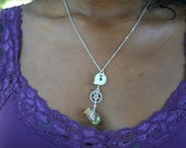 Gears and Peridot Steampunk Necklace