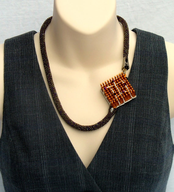 Asymmetric Necklace, Bead Crochet Rope, Repurposed Metal Square Pendant, Monochrome Orange Necklace,Upcycled Computer Parts,Bead Art Jewelry