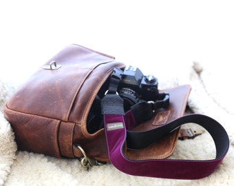 The 'Olive' Purple Velvet Camera Strap with Quick Release Buckles -- 1.5 inches wide