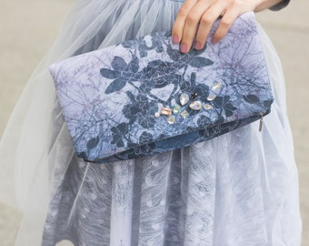 Grey orchid - embellished theater clutch bag