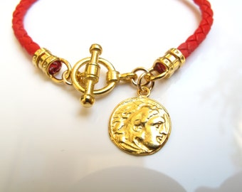 Italian red braided leather bracelet gold filled toggle clasp roman Greek antique style coin charm luxurious fine Napa leather
