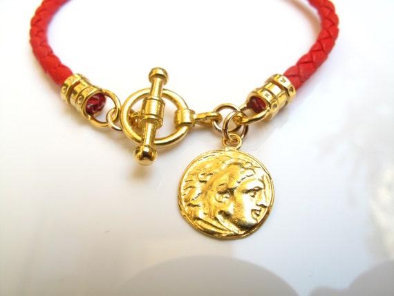 Italian Red Braided Leather Bracelet Gold By Symbolinajewelry