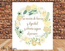 Cristiano, Bible Verse, Proverbs 31, Spanish Printable, Proverbios 31:25, Espanol printable, diy, 300 dpi