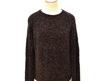 90s Black Speckled Sweater Women's Large