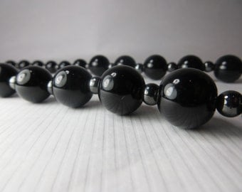 Black necklace, ceramic, hematite, Black chunky necklace, Large Toggle clasp, Black ceramic necklace
