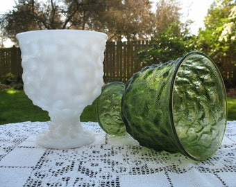 2 Footed Planters /  Green & White Vases / 2 Holiday Planters / 6.5 in Tall x 5 in / EO Brody Vases / Wedding Holiday Cottage / Plant Decor