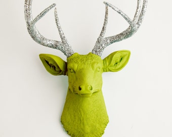 Faux Deer Head - The Livia - Mantis Green W/ Silver Glitter Antlers Resin Deer Head Mount - Stag Resin by White Faux Taxidermy Wall Decor