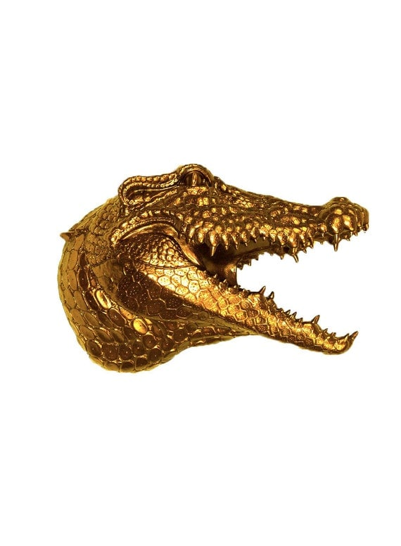 the gilt gold resin alligator head by whitefauxtaxidermy on etsy. Black Bedroom Furniture Sets. Home Design Ideas