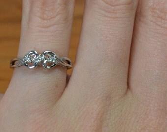 Twining Hearts // 3 Diamond Vintage Engagement Ring, White 14K Gold Ring, Three Stone Wedding Band, Two Heart Ring