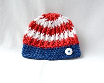 Crochet Baby Hat, Patriotic Hat, Fourth of July, Red White and Blue, Baby Shower Gift, Baby Flag Hat