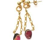 Watermelon Tourmaline Slice Earrings Chandelier Earrings Gold Chain Earrings Tourmaline Jewelry Gemstone Jewelry FizzCandy