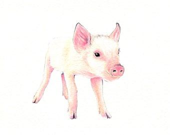 """Piglet art print of an original drawing available 5x7"""" or 8x10"""""""
