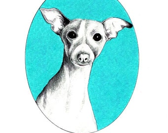 "Dog Portrait art print of an original drawing available 5x7"" or 8x10"""