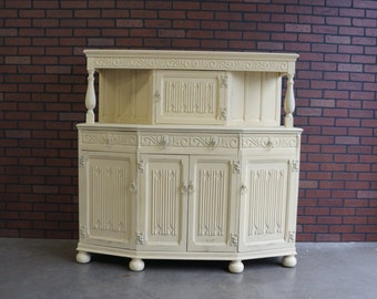 English Court Cupboard / English Buffet / Shabby Cottage Buffet / Sideboard