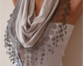 Christmas Gift Light Grey Scarf Shawl Gifts For Women Gift for Her Fall Winter Women Christmas Gift For Her Mom Gift Wife Cyber Monday