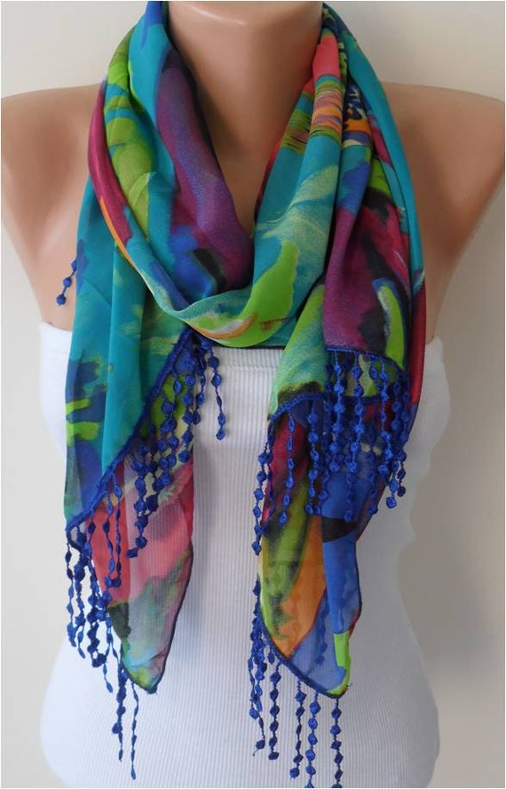 Multicolor Chiffon Scarf with Lace Edge - Gift