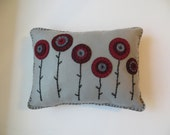 Felt Applique Pillow with Poppies, Felt Pillow, Decorative Pillow, Penny Pillow