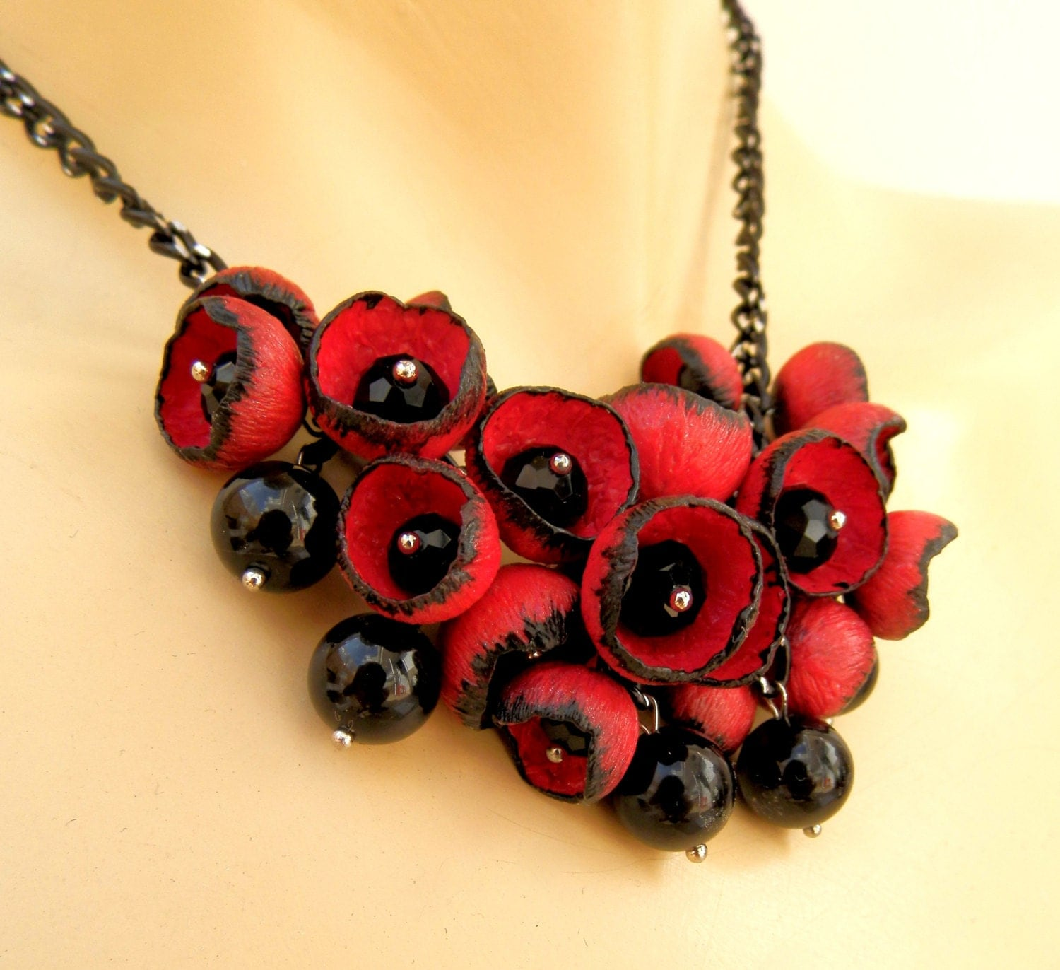 Red black necklace statement necklace flower buds red for Red black and green jewelry