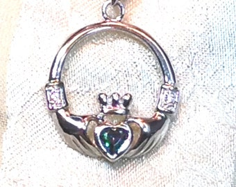 Green Topaz Claddagh Necklace Handmade Jewellery in Sterling Silver by NorthCoastCottage Jewelry Design