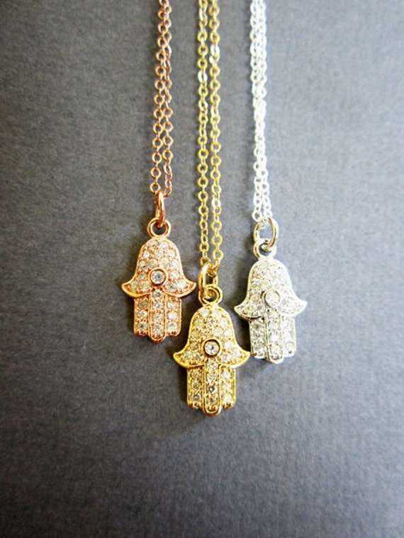 Items similar to Tiny Hamsa necklace, Hamsa Jewelry, Cubic ...